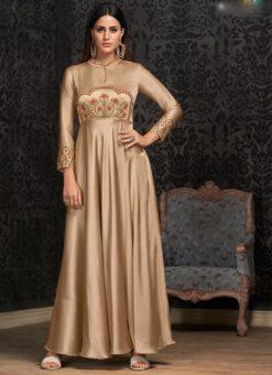 Beige Tapeta Silk Embroidered Work Designer Gown