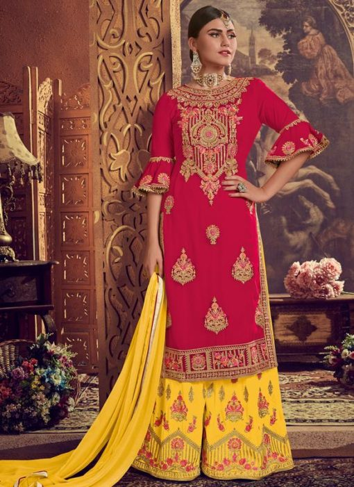 Red Georgette Embroidered Work Designer Palazzo Suit