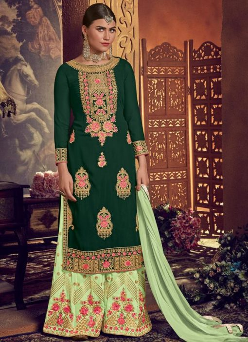 Green Georgette Embroidered Work Designer Palazzo Suit