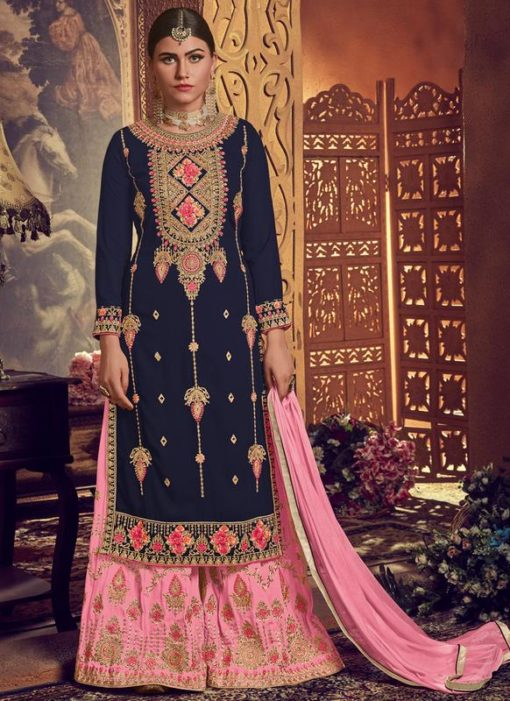 Blue Georgette Embroidered Work Designer Palazzo Suit