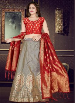 Red And Grey Banarasi Silk Readymade Lehenga Choli