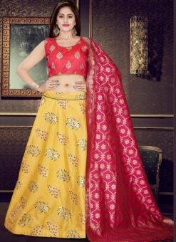 Red And Yellow Banarasi Silk Readymade Lehenga Choli