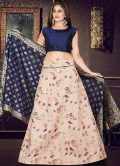 Blue And Cream Banarasi Silk Readymade Lehenga Choli