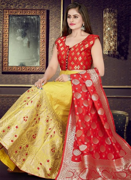 Red And Yellow Banarasi Silk Readymade Lehenga Choli