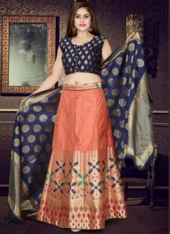 Blue And Orange Banarasi Silk Readymade Lehenga Choli