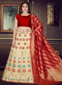 Red And Cream Banarasi Silk Readymade Lehenga Choli