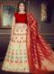 Red And Cream Banarasi Silk Readymade Lehenga Choli