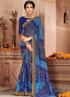 Blue Georgette Bandhani Traditional Saree