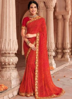 Multicolor Georgette Bandhani Traditional Saree