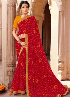 Red Georgette Bandhani Traditional Saree