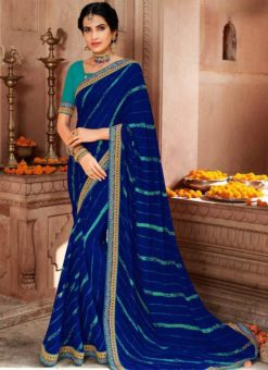 Navy Blue Georgette Bandhani Traditional Saree