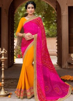 Pink And Yellow Georgette Bandhani Traditional Saree