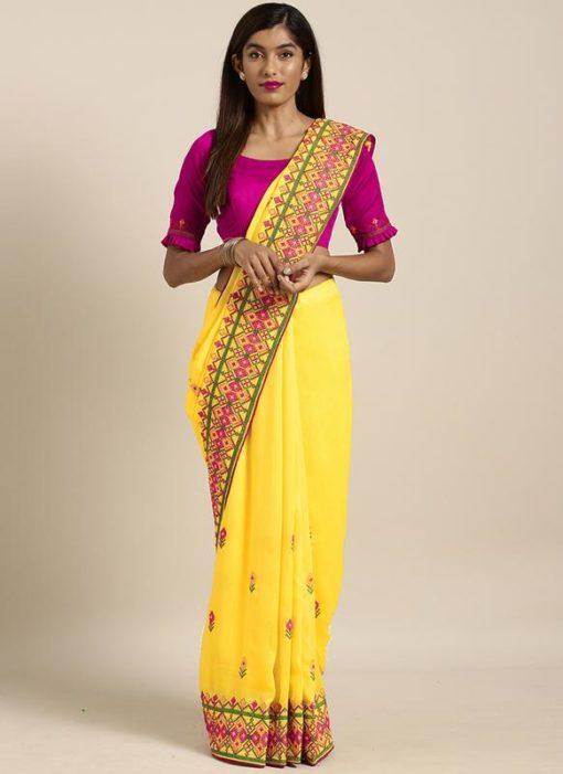 Yellow Georgette Embroidered Work Navratri Saree