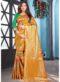 Orange Jacquard Silk Zari Weaving Traditional Saree