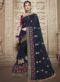 Navy Blue Silk Embroidered Work Designer Saree