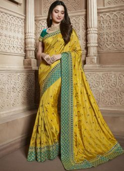 Yellow Silk Embroidered Work Designer Saree
