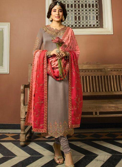 Beige Satin Designer Party Wear Salwar Kameez