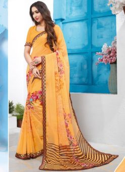 Yellow Georgette Casual Printed Saree