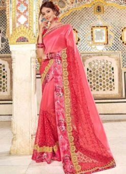 Pink Silk Printed Designer Party Wear Saree