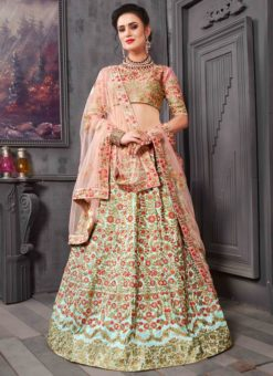 Beige Silk Designer Embroidered Work Lehenga Choli