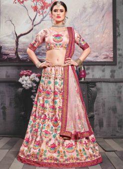 Pink Silk Designer Embroidered Work Lehenga Choli