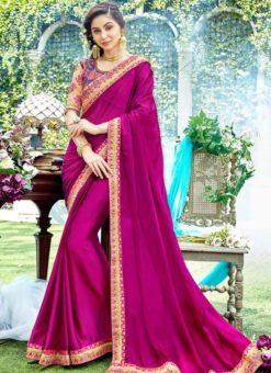 Rani Pink Silk Patch Border Designer Saree