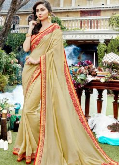 Beige Silk Patch Border Designer Saree