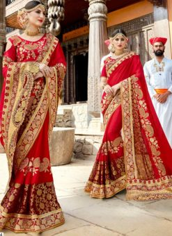 Red Silk Embroidered Work Designer Saree