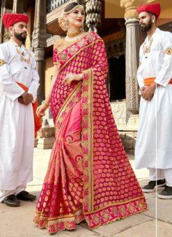 Pink Silk Embroidered Work Designer Saree