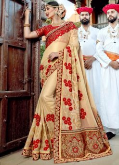 Beige Silk Embroidered Work Designer Saree