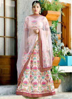 Baby Pink Silk Designer Lehenga Choli