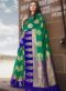 Sea Green Silk Zari Print Wedding Saree