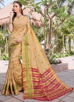 Beige Silk Zari Weaving Saree