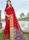 Red Silk Zari Print Wedding Saree