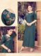 Teal Blue Silk Embroidered Work Party Wear Kurti
