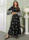 Black Rayon Cotton Printed Party Wear Gown