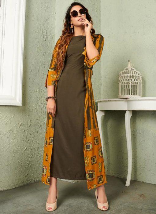 Mehendi Green Rayon Cotton Printed Party Wear Gown
