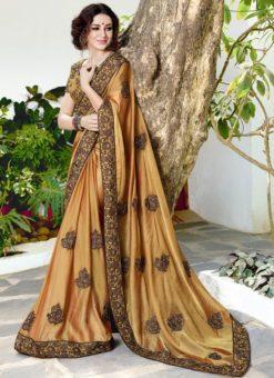 Beige Chiffon Designer Party Wear Saree