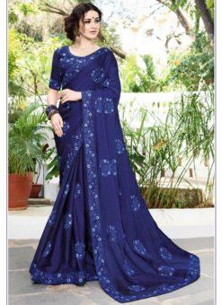 Royale Blue Chiffon Designer Party Wear Saree