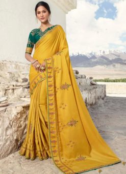 Miraamall Yellow Silk Embroidered Work Designer Saree