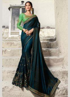 Miraamall Blue Silk Embroidered Work Designer Saree