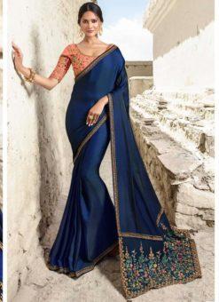 Miraamall Royale Blue Silk Embroidered Work Designer Saree