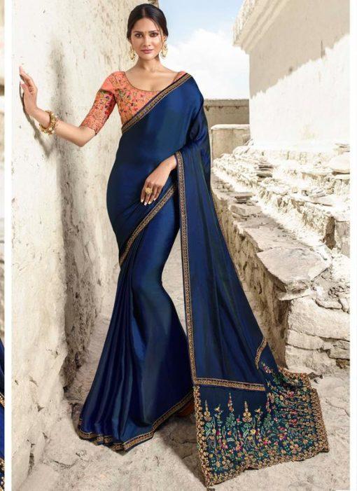 Royale Blue Silk Embroidered Work Designer Saree