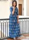 Blue Cotton Printed Party Wear Kurti