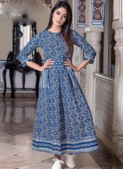 Blue Cotton Printed Party Wear Kurti