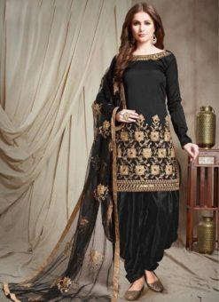 Designer Georgette Balck Embroidered Patiyala Suit