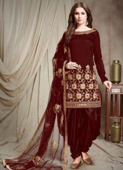 Designer Georgette Maroon Embroidered Patiyala Suit