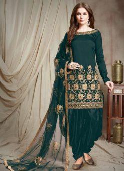 Designer Georgette Morpich Embroidered Patiyala Suit