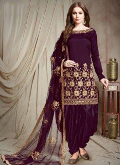 Designer Georgette Wine Embroidered Patiyala Suit