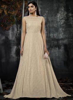 Beige Jacquard Designer Party Wear Gown